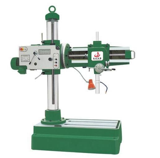 Z3732(B)万向摇臂钻床主要特点: Z3732型移动万向摇臂钻床,可以做钻孔、扩孔、镗孔、铰孔、刮平面、 攻螺纹和其他类似的工作,适用于各类机器制造业中加工中小型零件,也适用于修理车间。摇臂可电动升降,也可手动微调。 机床底座装有调平螺丝,可灵活解决地面不平问题。 我厂产品在普通Z3732(B)移动万向摇臂钻床基础上增加了水箱和冷却泵, 底座上安装有地轮,大大方便了用户的使用、维修和搬运。 Z3732(B)万向摇臂钻床具体参数: