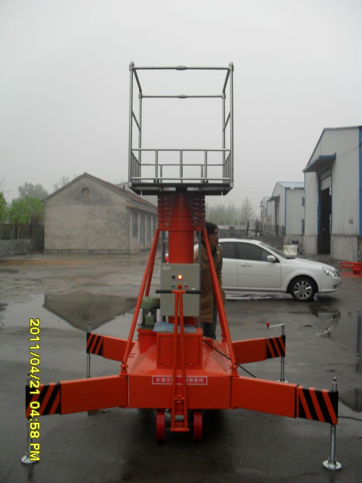 套缸式液压升降平台是一种多用途的单作用伸缩式套简油缸组成的垂直图片