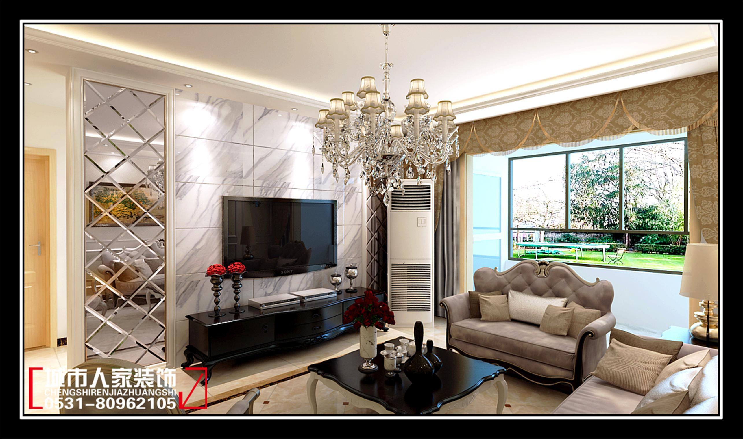 客厅影视墙时尚而独特的造型,欧式的家居配饰,在设计上追求空间变化