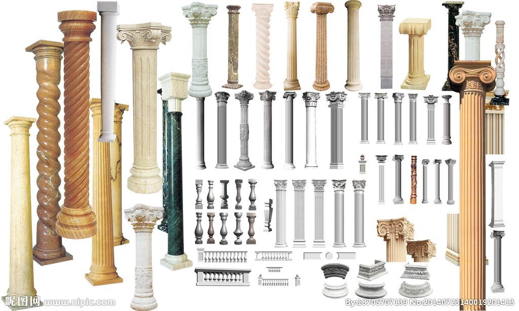 柱式包括希腊时期的3种,共有5种:多立克式,爱奥尼克式,科林斯式,罗马图片