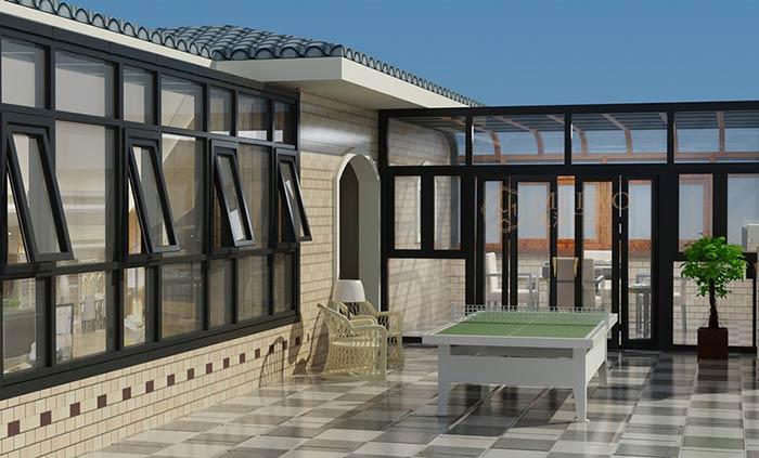 阳光房顶材料 阳光房顶材料主要有:钢化玻璃、阳光板、彩钢板、德高瓦、断桥铝等。阳光房的顶部传统工艺多为钢化玻璃,第二代保温隔热阳光房及第三代断桥铝阳光房陆续上市:顶部材料变更后,很好的解决了玻璃顶阳光房夏天过热的问题。 美国市场出现了最新科技的调光型阳光房产品,并成功应用于美国肯特州立大学植物温室阳光房试验室。当断电时,玻璃是不透明的,通电的时候,玻璃是透明的,可保护室内隐私,并可控制室内的阳光强度。 可调光阳光房由中空结构的调光玻璃作为外墙面及顶棚,可通过开关或遥控的方式控制阳光房的透明与不透明状态,实