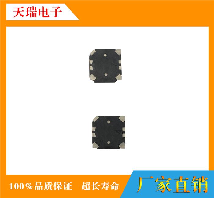 【产品名称】:TR-7525RA 【产品简介】:贴片式蜂鸣器7525(侧发音) 【产品尺寸】:7.5x7.5x2.5mm 【产品电压】:3V 3.6V 5V 【产品阻抗】: 5.5-40 之间 【产品频率】:2731HZ 可以定做 【产品声压】:85DB 【产品主图】: SPECIFICATIONS