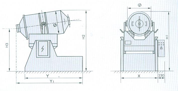 eyh二维运动混合机的结构简图:  本文由江阴市辉能机械有限公司