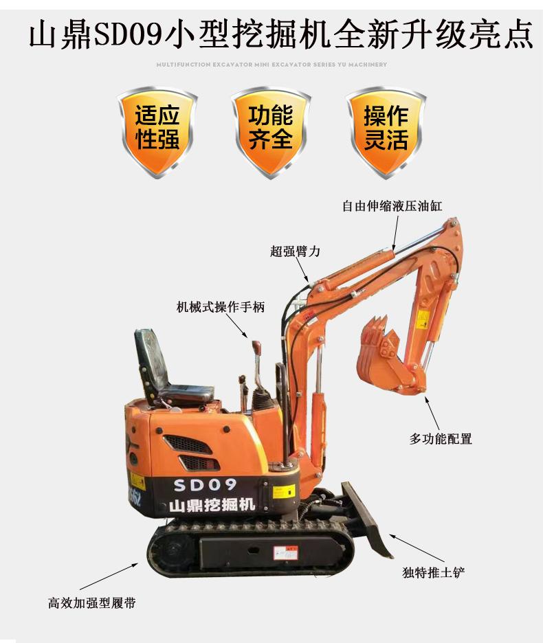 小挖机底盘部分加长15公分,结构件主要部位加固,整机重量增加100公斤