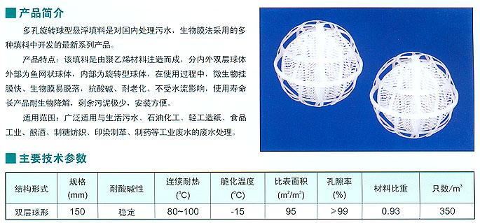 多孔旋转球型悬浮填料