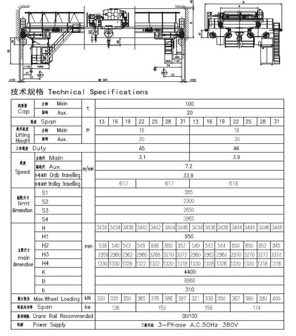 QD型5~550吨吊钩桥式