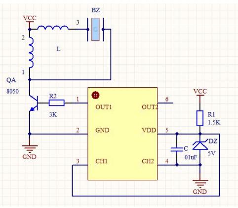 DC020四种音效声蜂鸣器驱动电路