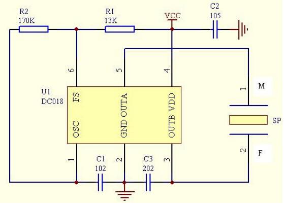 1、概述 DC018是一款高性能BTL输出的压电蜂鸣片专用驱动电路,采用了全新的设计理念和工艺技术,使产品的一致性和各项技术指标有了较好的提升;该IC具有自动频率跟踪和温度补偿功能,使蜂鸣器不会应工作电压和环境温度的变化而发生频率飘移;该IC采用了6脚的小型贴片封装(SOT-23-6),可以完全采用SMD元件和SMT工艺,替代大部分电感升压驱动,大大提高了生产效率,降低了生产成本。 2、封装:SOT-23-6  压电蜂鸣器专用驱动电路 3、特性: 宽裕的工作电压;316V 根据产品的不同要求可以选用两极或