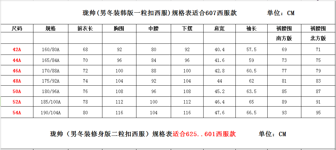 x男西装规格表