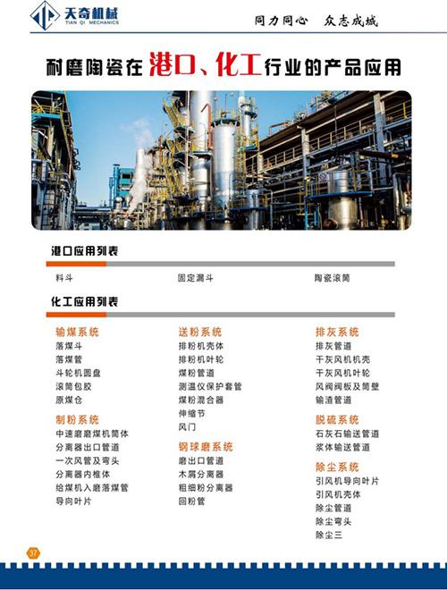 耐磨陶瓷在港口、化工行业的产品应用