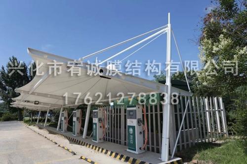 膜结构电动车雨棚安装