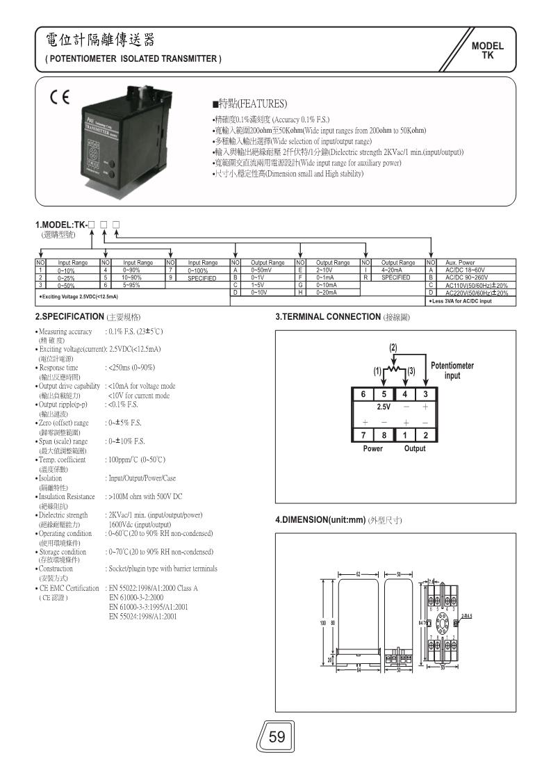 电位计隔离传送器TK