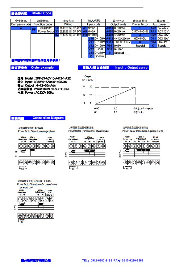 ZPF功率因數變送器P-43