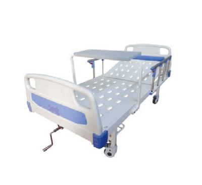 JDMT-860102 ABS床头冲孔单摇护理床(带轮子、护栏、餐桌)