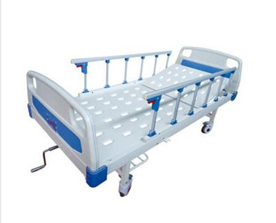 JDMT-860101ABS床头冲孔单摇护理床(带轮子、护栏)