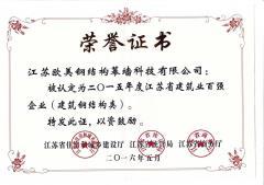 2015年度江苏省建筑业百强企业