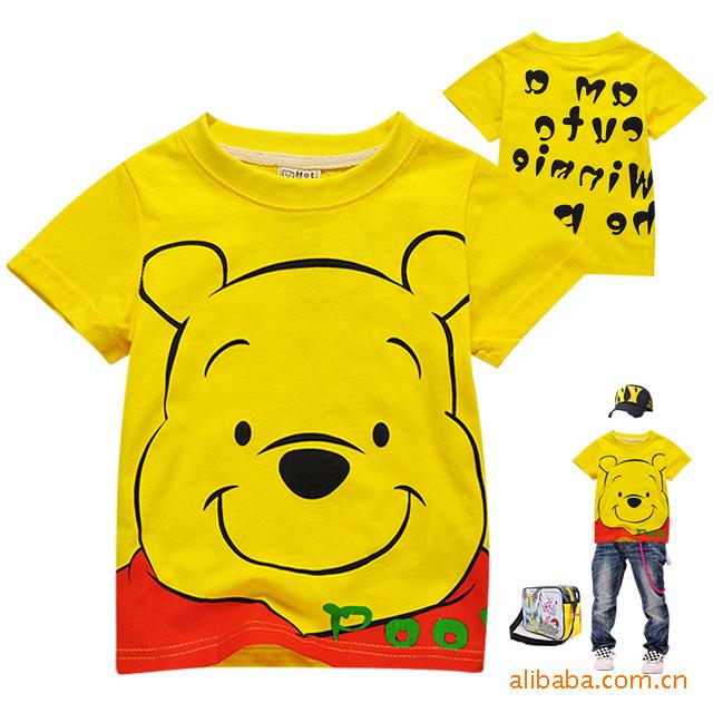 現貨促銷 批童裝批發 外貿童裝 維尼熊短袖T恤 純棉兒童童裝C2079