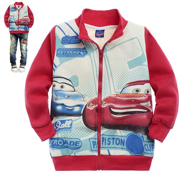 現貨!童裝批發 卡通紅色汽車總動員印花 毛圈外套 特價 C8005