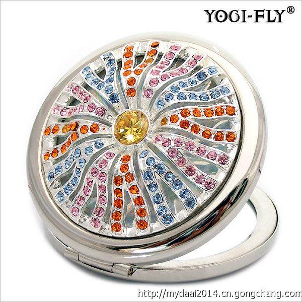 圓形折疊鑲鉆化妝鏡 珍珠滴油雙面化妝鏡 廠家定制logo化妝鏡