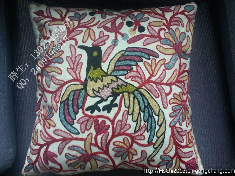 2013-11-1凤凰款,民族刺绣抱枕,客厅卧室汽车用品,刺绣工艺品