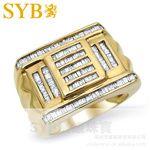 供應SYB高級珠寶 2克拉18K黃金鉆石豪華群鑲鉆石男戒