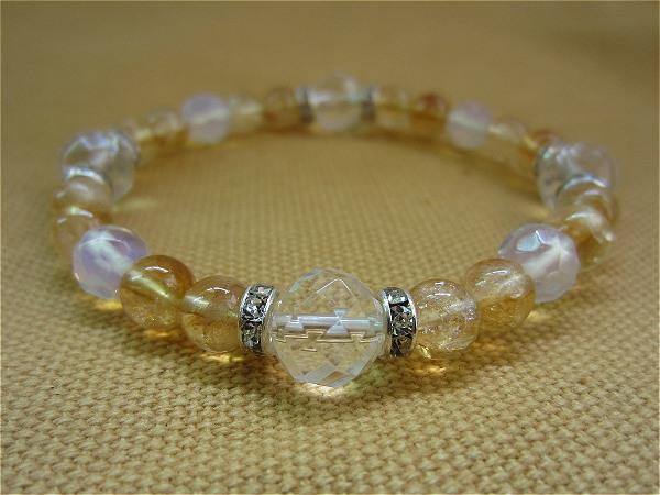 天然蛋白石48格面 黃水晶 手鏈 時尚飾品