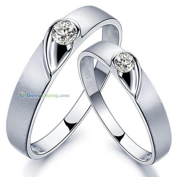 供應syb 奢寶心心相印 18K白金情侶結婚戒指對戒鉆戒批發