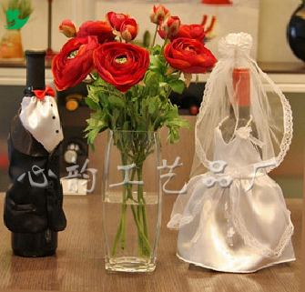 廠家直供 酒瓶套酒杯套 婚禮用品 新娘花 手腕花 頭飾 胸花