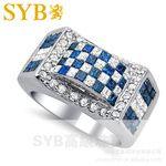 供應稀有藍鉆石戒指 SYB高級珠寶2.1克拉18K金藍白鉆石男戒