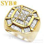 供應SYB高級珠寶 2.5克拉18K黃金鉆石豪華群鑲鉆石男戒