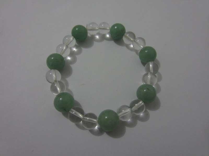 天然綠東陵 白水晶 手鏈飾品