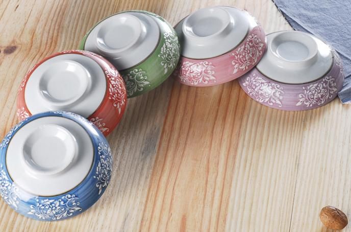 韩式陶瓷彩色饭碗