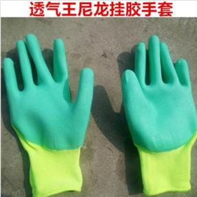 厂家批发黄纱绿胶透气王尼龙挂胶手套透气耐