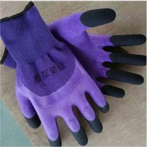 2016年新款男女款发泡加指尼龙挂胶手套
