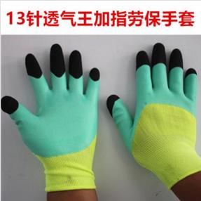 厂家批发透气王加指劳保手套耐磨防滑防油耐