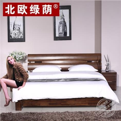 北欧纯黑胡桃实双人床 简约现代实木床.