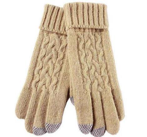 针织花纹长手套