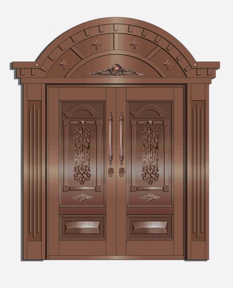 防火木纹铜门