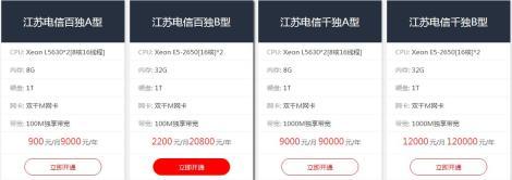 实惠的江苏电信大带宽服务器租用,百兆独月