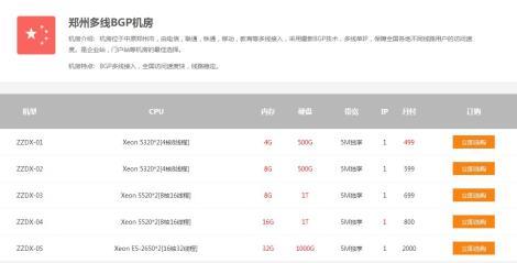 便宜的郑州BGP多线服务器租用,450起