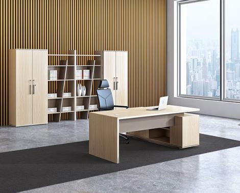 事业单位橡木纹胶版材质行政桌