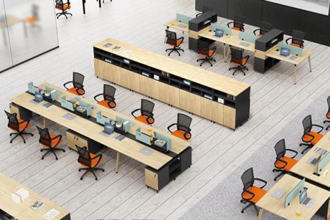 现代简约职员办公桌工作位屏风办公桌椅