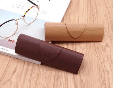 木纹三角眼镜盒直销