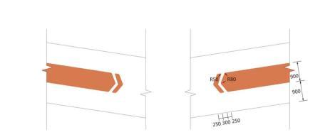 机动车坡道出入口墙体标识样式及尺寸示例