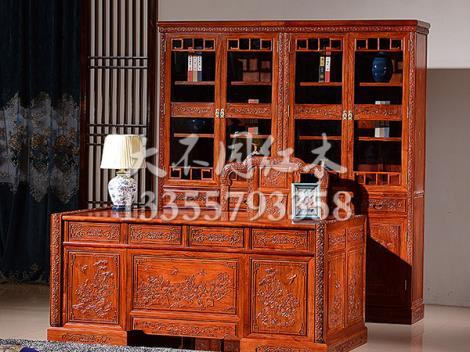 中式实木办公桌书柜