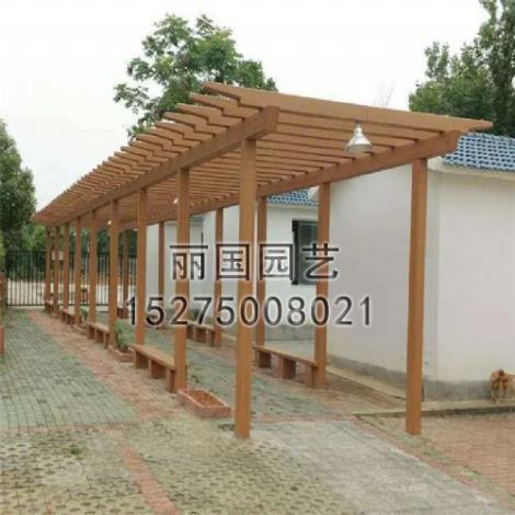 水泥仿木花架长廊