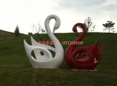 兩只紅白鴨子組合-不銹鋼大鵝雕塑  不銹鋼動物塑像廠家