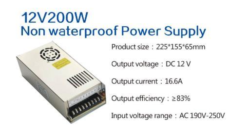 12V200W Non waterproof Power Supply