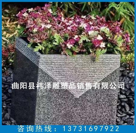 方形石雕花盆
