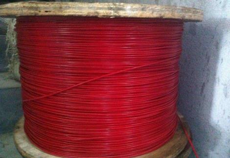 红色涂塑钢丝绳